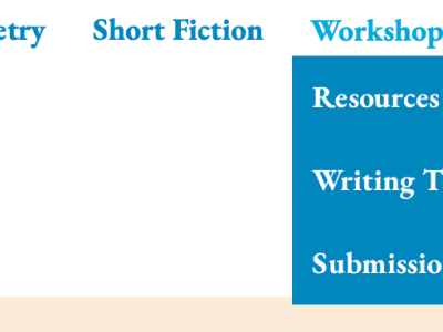 Screen shot of updated website menus (home, about, poetry, short fiction, workshops, contact, and blog)